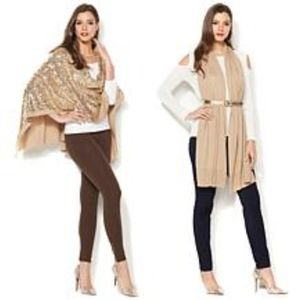 Iman Sequent & Soft Knit Wrap Champagne Gold